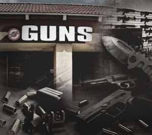 storefront of gun shop with ammo, knife, handgun